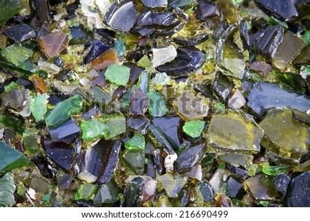 Image of multicolored broken glass - stock photo