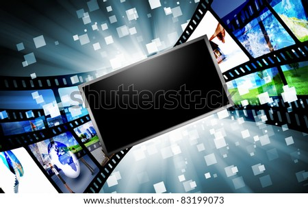 Image of multiple computer screens with various images - stock photo