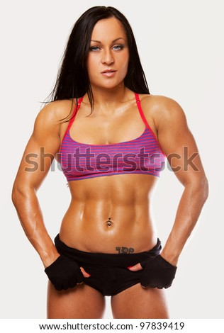 Image of muscle posing woman - stock photo