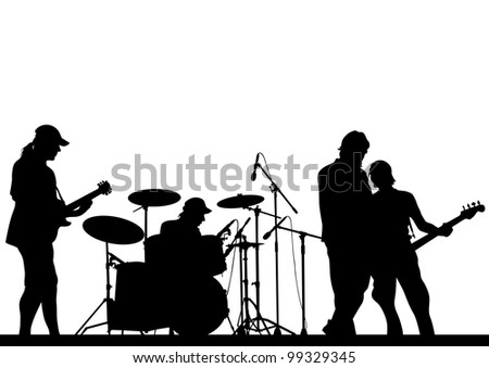 image of musical group and audience - stock photo