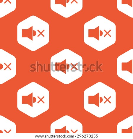 Image of muted loudspeaker in white hexagon, repeated on orange background