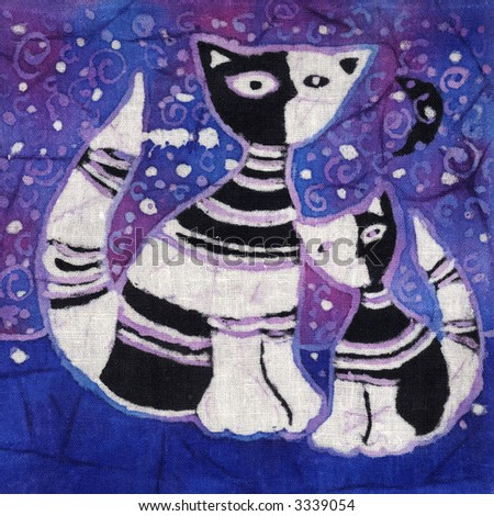 Image of my artwork with a cat and a kitten - stock photo