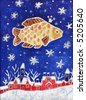 Image of my batik artwork with a Gold Fish in the starry sky - stock photo