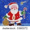 Image of my batik artwork with a Santa Claus - stock photo