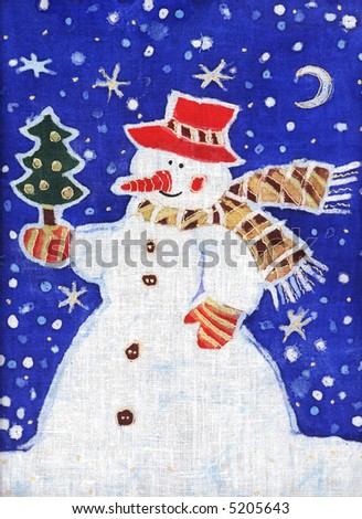 Image of my batik artwork with a snowman with a christmas tree