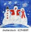 Image of my batik artwork with three snow-mans - stock photo
