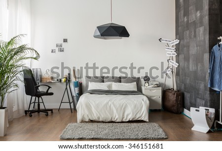 Image of new design bedroom with king size bed - stock photo