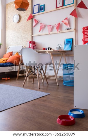Image of new design cosy furnished boy room - stock photo