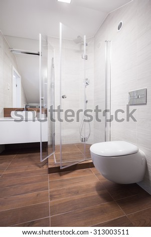 Image of new design light bathroom interior with shower