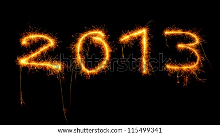 Image of New Year festive fireworks, abstract holiday background, beautiful glowing digits on black background, 2013 sparkle numbers in night sky, christmas holiday salute, illuminated ornament - stock photo