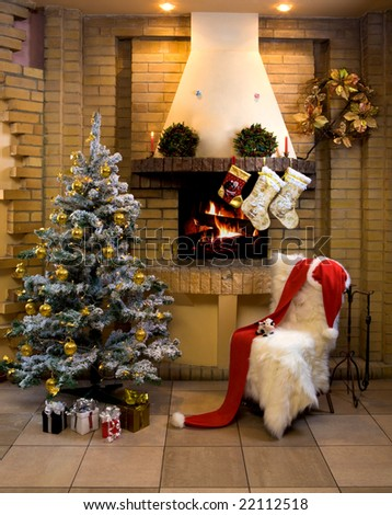 Image of nice comfortable room decorated for Christmas with fir tree, toys and decorations - stock photo