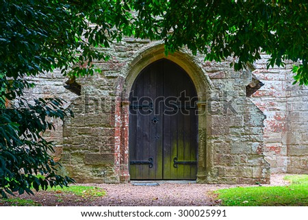 Image of of a closed entrance to a chapel - stock photo
