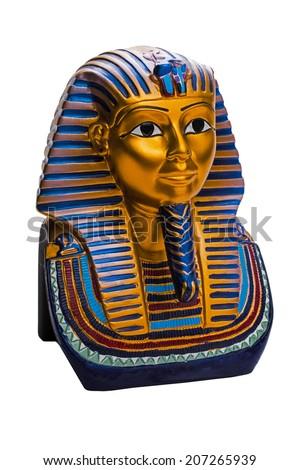 image of of King Tutankhamun, isolated on white background - stock photo
