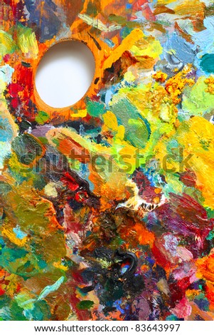 Image of oil-paint palette - stock photo