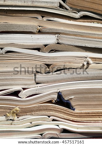 Image of old antique books stack - stock photo