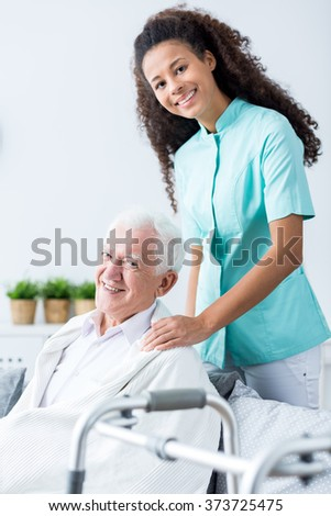 Image of old male and medical private home care - stock photo