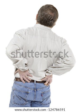 Image of old man suffering back pain against white background