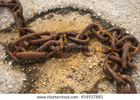 Image of old rusty ship chain, Kefalonia, Greece - stock photo