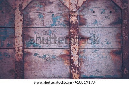 Image of old wood  and rusty metal as background and texture.  - stock photo