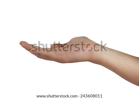 Image of one empty hand isolated on white - stock photo