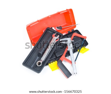 Image of open black toolbox with tools. - stock photo