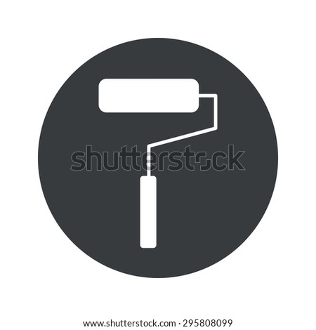 Image of paint roller in black circle, isolated on white - stock photo
