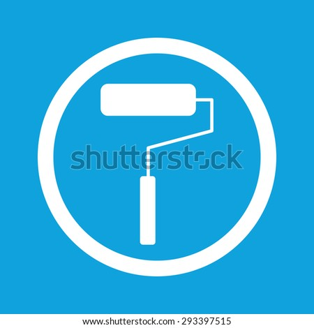 Image of paint roller in circle, isolated on blue - stock photo