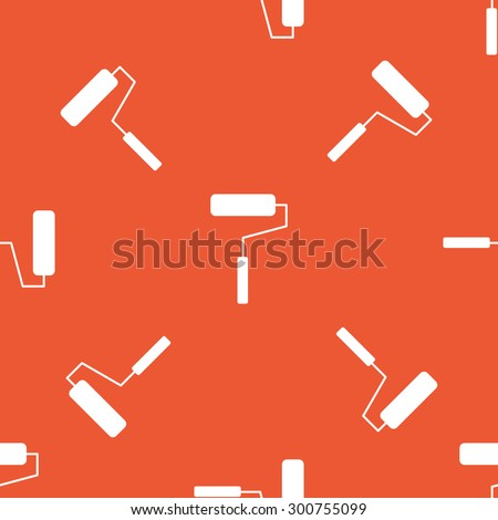 Image of paint roller, repeated on orange background - stock photo