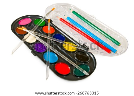 image of paints on white background - stock photo