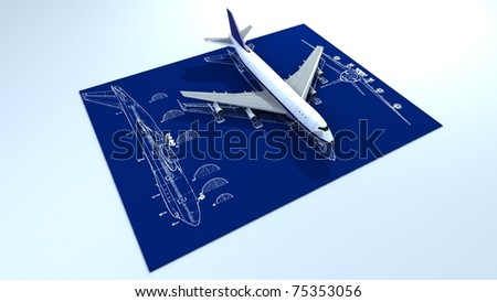 Image of passenger airplane and engineering blueprint - stock photo