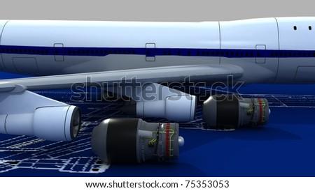 Image passenger airplane engineering blueprint jet stock image of passenger airplane and engineering blueprint with jet engines malvernweather Images