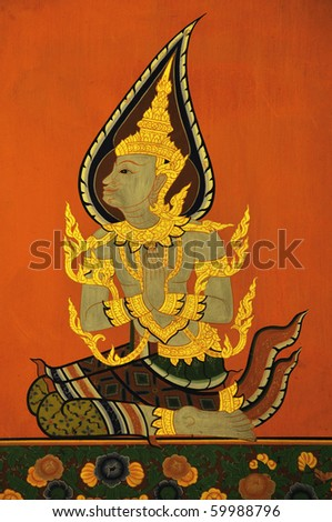 Image of pay respect of sprite, Wall painting at Ayuthaya, the old temple in Thailand - stock photo