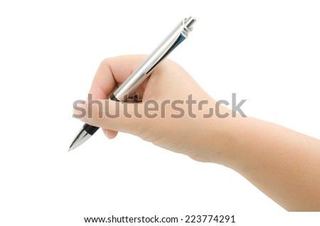 Image of pen in hand isolate on white background