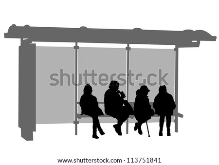 image of people at a bus stop