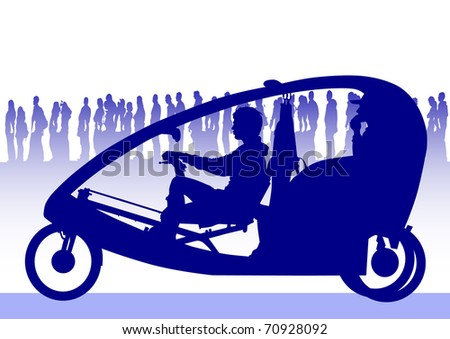 image of people on velomobile on background of crowd - stock photo