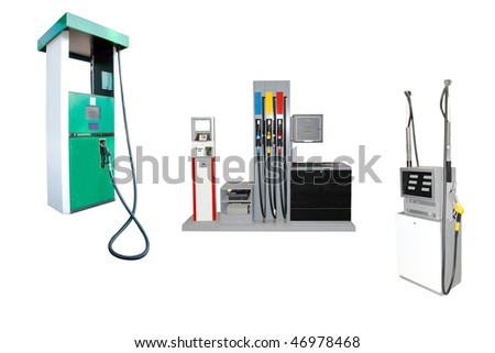 Image of petrol stations under the white background - stock photo