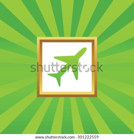 Image of plane in golden frame, on green abstract background - stock photo