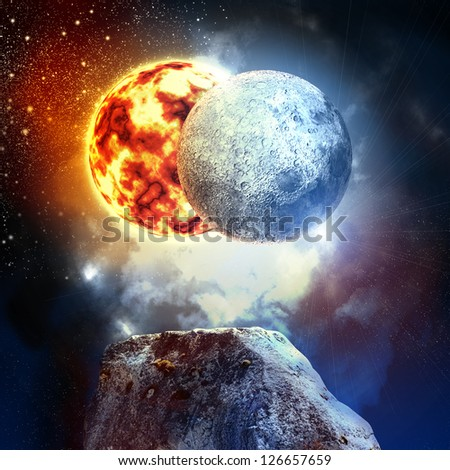 Image of planets in fantastic space against dark background - stock photo