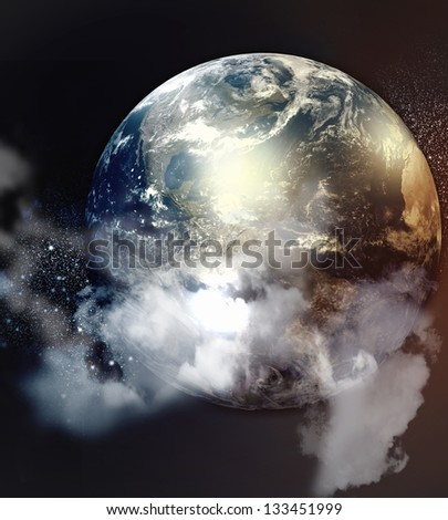Image of planets in fantastic space against dark background. Elements of this image are furnished by NASA - stock photo