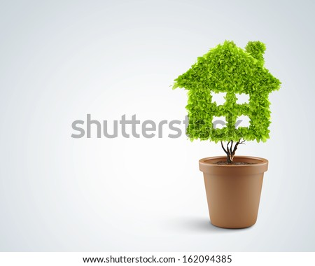 Image of plant in pot shaped like house - stock photo