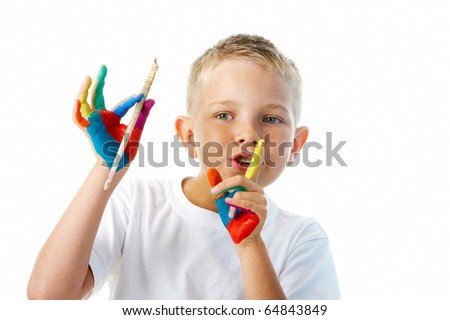 Image of preschooler with painted hands showing shhh gesture over white background - stock photo