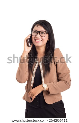 Image of pretty business woman calling on the phone isolated white background - stock photo
