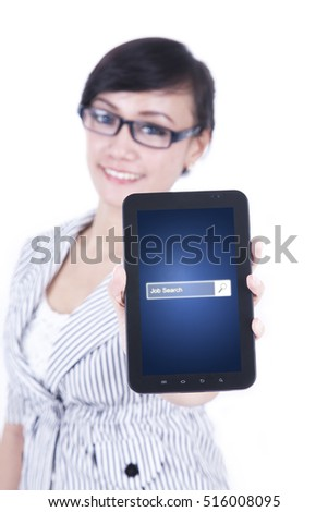 Image of pretty female entrepreneur showing a smartphone with job search bar on the screen