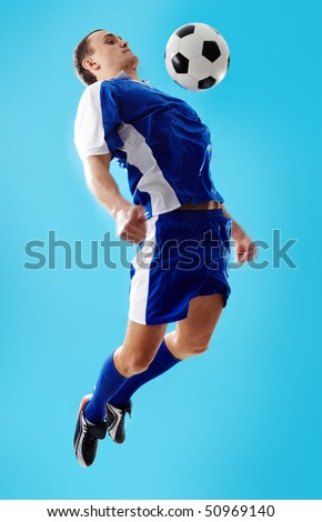 Image of professional sportsman playing in football - stock photo