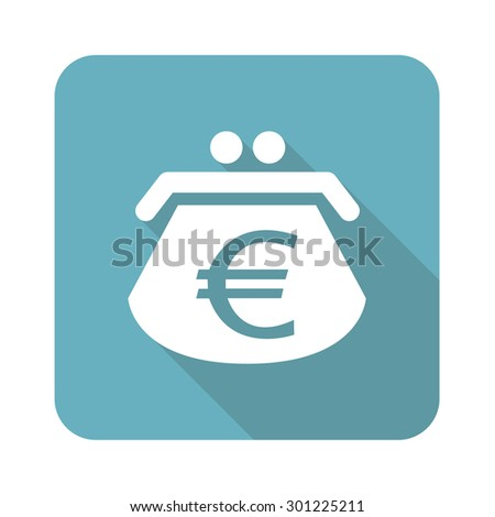 Image of purse with euro symbol in blue square, isolated on white - stock photo