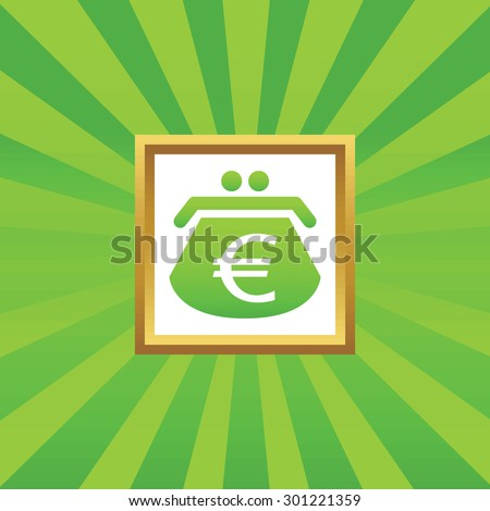 Image of purse with euro symbol in golden frame, on green abstract background - stock photo