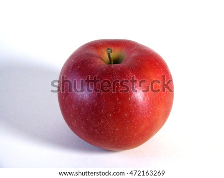 Image of red apple over white background