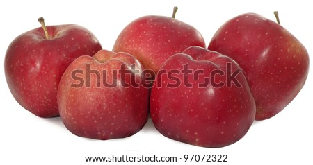 image of red apples isolated on a white background - stock photo