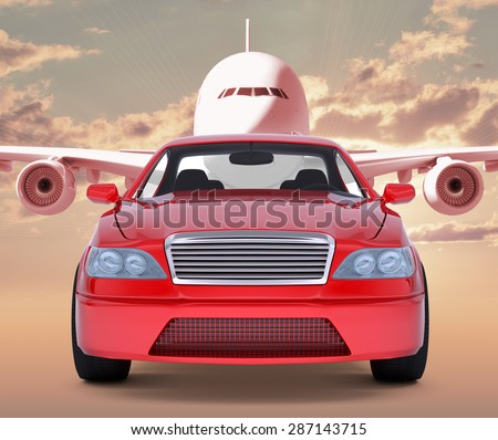 Image of red car with jet behind on red sky background - stock photo
