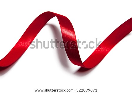 image of red ribbon on white background - stock photo